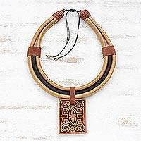 Ceramic pendant necklace, 'Elegant Maze' - Adjustable Ceramic Pendant Necklace Crafted in Brazil