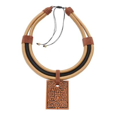 Adjustable Ceramic Pendant Necklace Crafted in Brazil