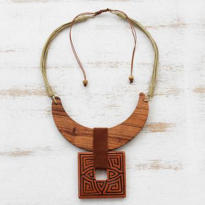 Ceramic and wood pendant necklace, 'Crescent Moon Labyrinth' - Crescent-Shaped Ceramic and Wood Pendant Necklace