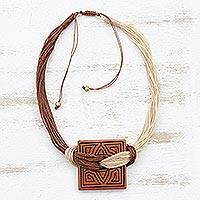 Ceramic pendant necklace, 'Amazon Labyrinth' - Labyrinth Motif Ceramic Pendant Necklace from Brazil