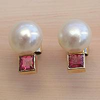 Gold accented cultured pearl and tourmaline button earrings, 'Glowing Delicacy' - Gold Accented Cultured Pearl and Tourmaline Button Earrings