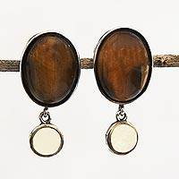 Tiger's eye and citrine dangle earrings, 'Oval Magnificence' - Oval Tiger's Eye and Citrine Dangle Earrings from Brazil