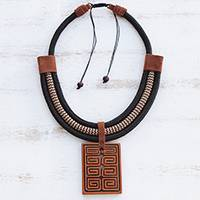 Ceramic pendant necklace, 'Rectangular Labyrinth' - Rectangular Ceramic Pendant Necklace from Brazil