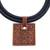 Ceramic pendant necklace, 'Labyrinth Squares' - Labyrinth Motif Ceramic Pendant Necklace from Brazil (image 2d) thumbail