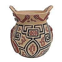 Ceramic decorative vase, 'Marajoara Style' (7 inch) - Marajoara-Style Ceramic Decorative Vase (7 inch) from Brazil