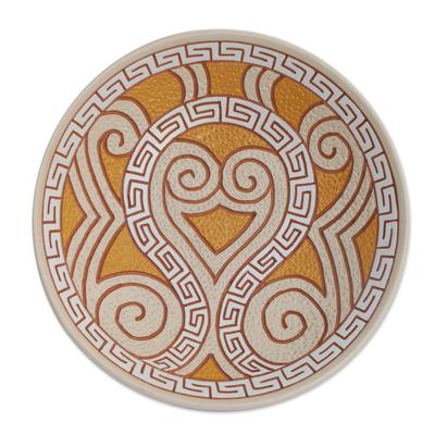 Curl Motif Ceramic Decorative Bowl from Brazil (12.5 in.)