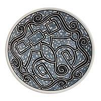 Ceramic decorative bowl, 'Macapa Lines' - Ceramic Decorative Bowl with Line Motifs in Grey from Brazil