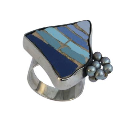 Cultured Pearl and Ceramic Mosaic Cocktail ring from Brazil