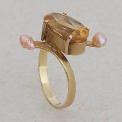 Citrine and cultured pearl cocktail ring, 'Regal Fascination' - Citrine and Cultured Pearl Cocktail Ring with 18k Gold