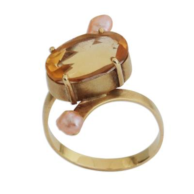 Citrine and Cultured Pearl Cocktail Ring with 18k Gold