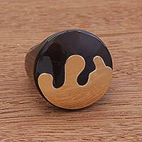 Gold accented agate signet ring, 'Eternal Promise in Black' - Gold Accented Agate Signet Ring from Brazil