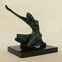 Bronze sculpture, 'Thanking God' - Fine Art Bronze Sculpture of a Figure Kneeling from Brazil