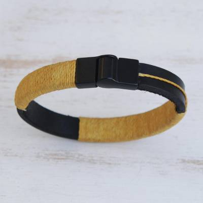 Leather wristband bracelet, 'Modern Hula in Maize' - Leather Wristband Bracelet with Maize Cotton Accent