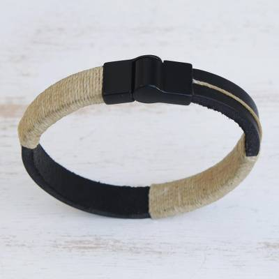 Leather wristband bracelet, 'Modern Hula in Vanilla' - Leather Wristband Bracelet with Vanilla Cotton Accent