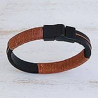 Leather wristband bracelet, 'Modern Hula in Burnt Orange' - Leather Wristband Bracelet with Burnt Orange Cotton Accent