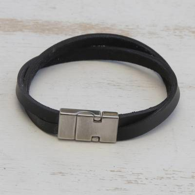 Mens leather wristband bracelet, Determination in Silver