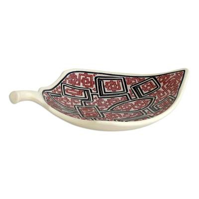 Ceramic decorative bowl, 'Marajoara Leaf in Red' (17.5 inch) - Leaf-Shaped Ceramic Decorative Bowl in Red (17.5 in.)