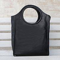 Leather handbag, 'Black Fashion' - Black Leather Handbag with Two Coin Purses from Brazil