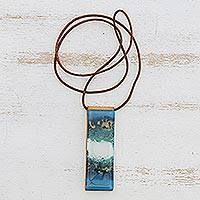 Glass and leather pendant necklace, 'Cloudy Sky' - Blue and White Glass and Leather Pendant Necklace