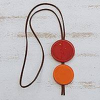 Glass and leather pendant necklace, 'Red Eclipse' - Red Glass and Leather Pendant Necklace from Brazil