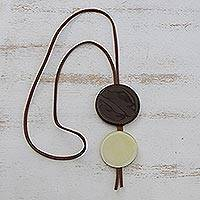 Glass and leather pendant necklace, 'Brown Eclipse' - Brown Glass and Leather Pendant Necklace from Brazil