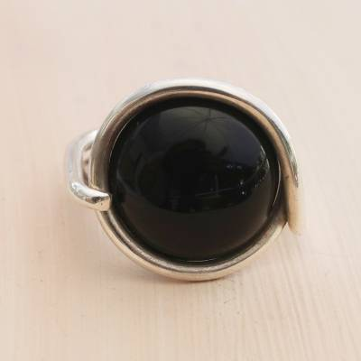 Onyx cocktail ring, 'Rugged Night' - Round Domed Black Onyx and Sterling Silver Cocktail Ring