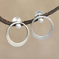 Cultured pearl drop earrings, 'Around the Halo' - Circular Cultured Pearl and Silver Drop Earrings from Brazil