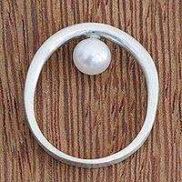 Cultured pearl band ring, 'Glowing Halo' - Simple Cultured Pearl Band Ring from Brazil