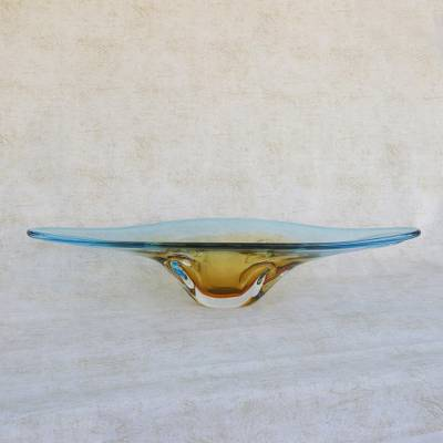 Art glass centerpiece, 'Bending Time' - Yellow and Blue Art Glass Centerpiece Bowl from Brazil