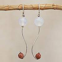 Agate and sunstone dangle earrings, 'Music Within' - Agate and Sunstone Bead Dangle Earrings from Brazil