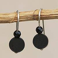 Agate beaded drop earrings, 'Dark Orbs' - Round Black Agate Beaded Drop Earrings from Brazil
