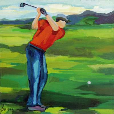 'Golfer II' - Signed Impressionist Painting of a Golfer from Brazil