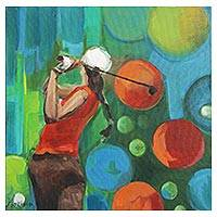 'The Champion' - Signed Surrealist Golf Painting from Brazil