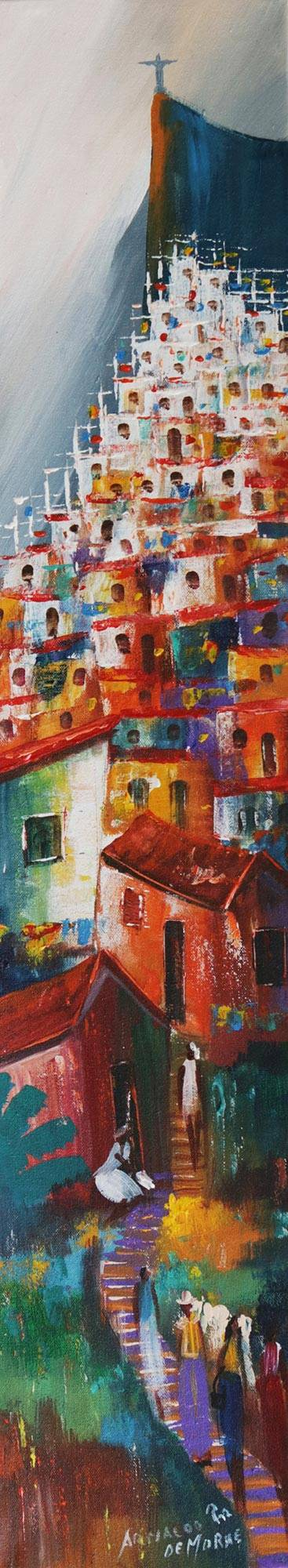 'On the Rise of the Hill I' - Colorful Cityscape Expressionist Painting from Brazil