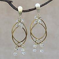 Gold accented quartz chandelier earrings, 'Beautiful Chimes' - Gold Accented Quartz and Golden Grass Chandelier Earrings