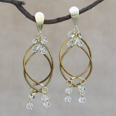 Gold accented quartz chandelier earrings, Beautiful Chimes