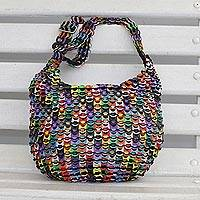 Soda pop-top bucket bag, 'Eco Rainbow' - Rainbow-Hued Soda Pop-Top Bucket Bag from Brazil