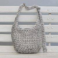 Soda pop-top bucket bag, 'Eco Silver' - Silver-Tone Recycled Aluminum Soda Pop-Top Bucket Bag