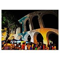 Canvas print, 'Night in Lapa' - Expressionist Canvas Print of an Aqueduct from Brazil