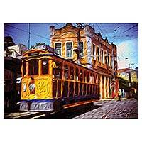 Canvas print, 'Saint Teresa Cableway' - Signed Expressionist Print of a City Cableway from Brazil