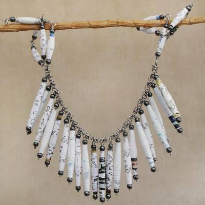 Recycled paper and hematite waterfall necklace, 'Clear Memories' - White Recycled Paper and Hematite Waterfall Necklace