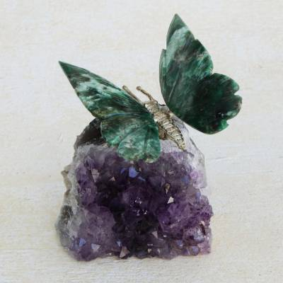 Serpentinite and amethyst gemstone figurine, Forest Wings