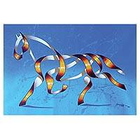 Print, 'Horse in Blue' (26.5 inch) - Surrealist Print of a Horse in Blue from Brazil (26.5 in.)