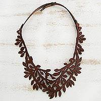 Leather collar necklace, 'Brazilian Foliage in Chestnut' - Leaf Motif Leather Collar Necklace in Chestnut from Brazil