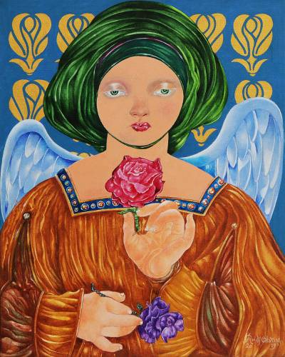 'Queen of Flowers' (2019) - Signed Expressionist Painting of an Angel with Flowers