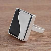 Agate cocktail ring, 'Wavy Square' - Wavy Modern Agate Cocktail Ring from Brazil