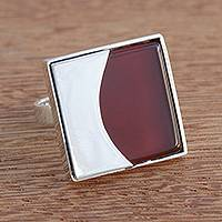 Agate cocktail ring, 'Red-Orange Eclipse' - Modern Red-Orange Agate Cocktail Ring from Brazil