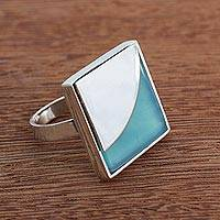 Agate cocktail ring, 'Contemporary Curve' - Blue Agate Modern Cocktail Ring from brazil