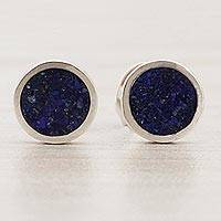 Lapis lazuli stud earrings, 'Modern Glitter' - Circular Lapis Lazuli Stud Earrings from Brazil