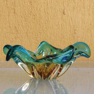 Art glass decorative bowl, 'Artistic Splash' - Blue and Yellow Art Glass Decorative Bowl from Brazil